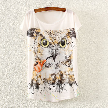 White Short Sleeve Smoking Owl Print T-Shirt