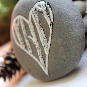 Birch Heart Stone , Woodland Wedding Decoration , Rustic Home Decor , Rustic Reception