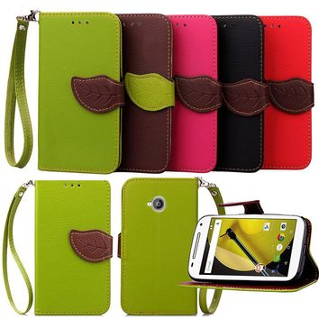 For Motorola Moto E Luxury Leather Cover Flip Wallet Phone Case For Moto E2 With Leaves Buckle And Lanyard Mobile Phone Shell