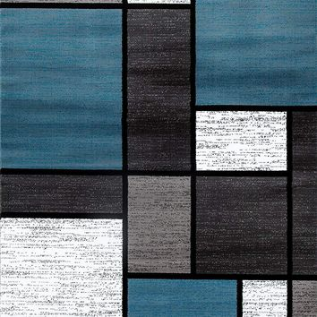 3810 Blue Gray Boxes Contemporary Area Rugs