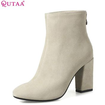 QUTAA 2018 Women Ankle Boots Cow Leather + Pu Pointed Toe Square High Heel Zipper Fashion Women Motorcycle Boots Size 33-43