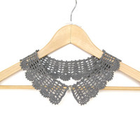 Gray Crochet Peter Pan Collar - Grey Detachable Lace Collar - Collar Necklace - Gift for her