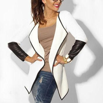 New 2017 Spring Fashion Women Jacket Cardigan Faux Leather Patchwork Long Sleeve Laple Casual Loose Coat Outwear Plus Size