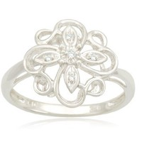Sterling Silver Flower Diamond Ring (0.02 cttw, I-J Color, I2-I3 Clarity)