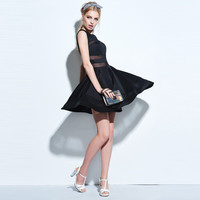 Casual dresses 2017 women spring party dresses black solid sexy sleeveless summer lace mini dress female casual dresses -0331
