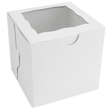 White Window Single Cupcake Box