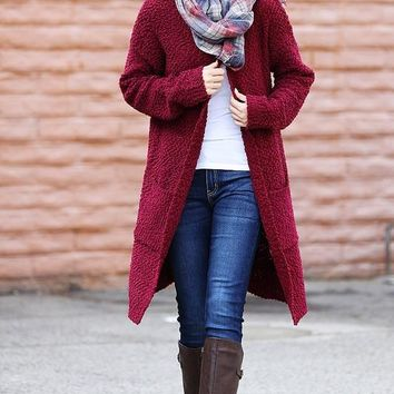 Popcorn Long Cardigan - Burgundy