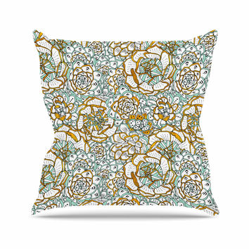 "Pom Graphic Design ""Succulents Paradise"" Black Gold Vintage Illustration Throw Pillow"
