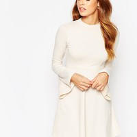 ASOS Babydoll Dress with High Neck and Flared Sleeves