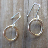 Small Gold Earrings, Small Gold Hoops, Solid 14k Gold Earrings on Sterling Silver Wires