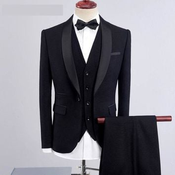 Y-484 Classic Style Royal Blue Suit Men Groom Tuxedos Shawl Lapel Mens Suits Wedding Best Man Blazer (Jacket+Pants+Vest) 2018
