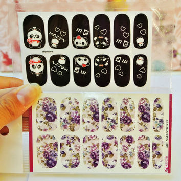 2 Packs Panda Nail wrap, Purple Rose Nail wrap, Nail Decals, water transfers, Nail art, Nail Design, Rose, Panda Nails, Nail Decoration