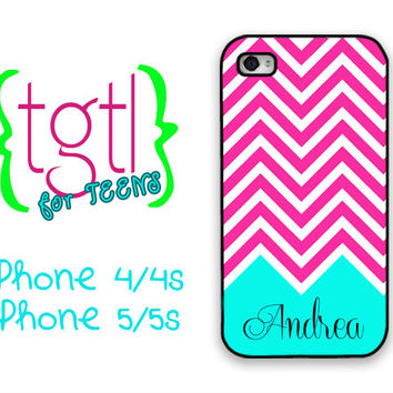 Girly iPhone 5c case - Hot pink chevron with light aqua blue - monogrammed phone case, fits iPhone 4/4s/5/5s/5c and iPod 4/5 cute (1050)