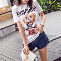 """Moschino"" Fashion Casual Letter Cartoon Bear Print Short Sleeve Women T-shirt Tops"