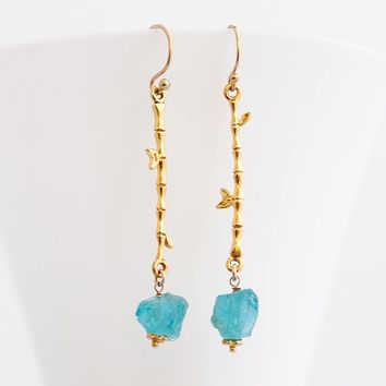 Raw Apatite Earrings - Rough Stone Dangle Earrings