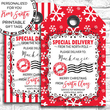 PRINTABLE Christmas Gift Tags, From Santa Gift Tags, PERSONALIZED Santa Gift Tags, Special Delivery, Christmas Tags, Christmas Labels
