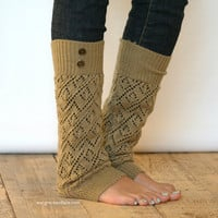 The LouLou -Gold: Open-work Legwarmers with Antique Gold Metal Military Buttons - Leg warmers (item no. 9-11)