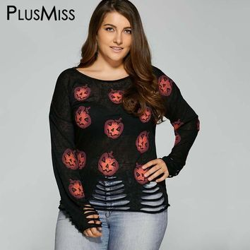 Plus Size 5XL Halloween Pumpkin Print Frayed Knitwear sweater Women Long Sleeve Jumper Ripped Pullover Oversized Pull Femme