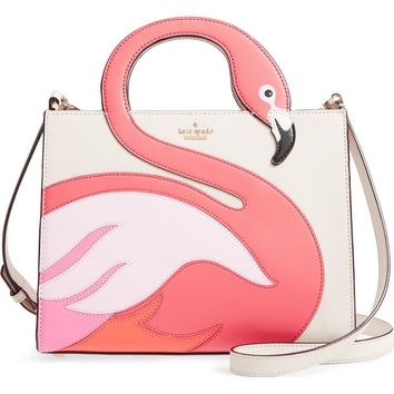 kate spade new york by the pool - flamingo sam leather tote | Nordstrom