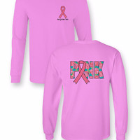 Sassy Frass Comfort Colors Pink Ribbon Floral Breast Cancer Awareness Long Sleeve Bright Girlie T Shirt