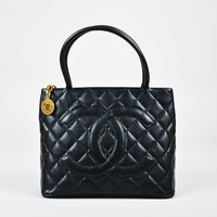 Chanel Vintage Black Caviar Leather Quilted 'CC' Medallion Tote Bag