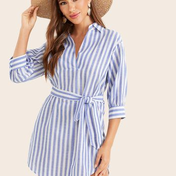 Collared Dip Hem Belted Striped Dress