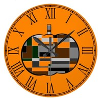 Retro Halloween Pumpkin Abstract Wall Clock
