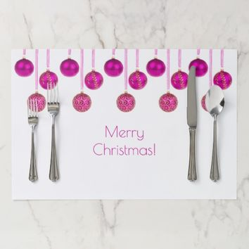 Merry Christmas Decor Pink Baubles Pattern Elegant Placemat