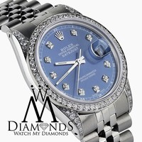 Rolex Datejust 36mm Stainless Steel Light Blue Diamond Dial Watch With A track