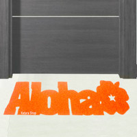 "Hawaiian floor mat ""Aloha"" with hibiscus flower. Design mat."