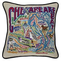Chesapeake Bay Hand Embroidered Pillow
