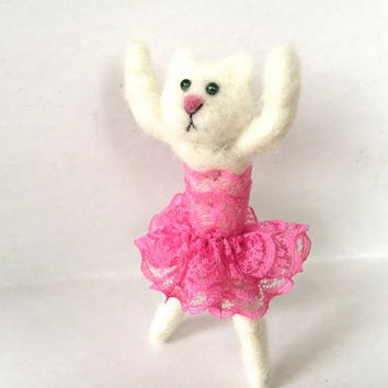 Needle felted Kitten figurine cat animal felting kitten cat unique gift one of a kind cute miniature fiber art ballerina wool dancer OOAK