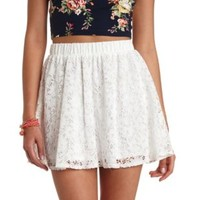 Crocheted Lace Skater Skirt by Charlotte Russe - Ivory