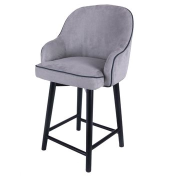 Terry Fabric Swivel Counter Stool, Denim Dove Gray