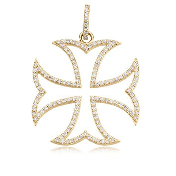 14k Gold and Diamond Maltese Cross Pendant