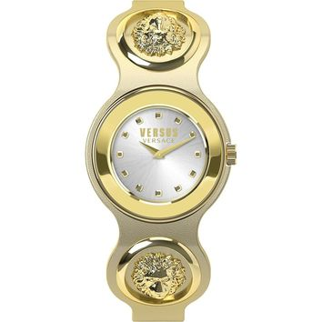 Versus Versace V_VERSUS eyelets Womens IP Gold White Leather Analog Stainless Steel Watch SCI040016
