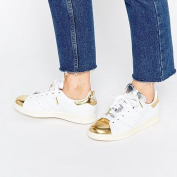 adidas Originals Stan Smith White & Gold Toe Cap Trainers