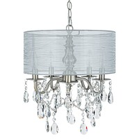 5 Light Crystal Plug-In Chandelier with Cylinder Shade (Silver)