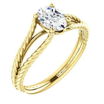 0.75 Ct Oval Ring 14k Yellow Gold