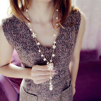 Simulated Pearl Flower Long Necklaces