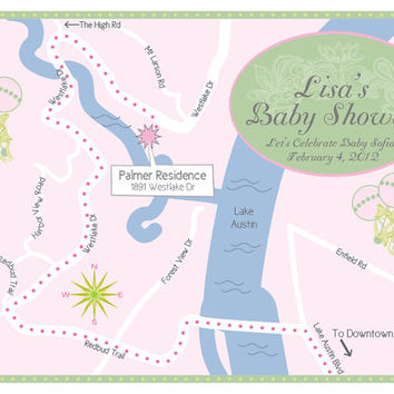 Green & Pink Shabby Chic Baby Shower Invitation Map with directions or Invitation on the back