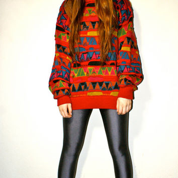 Vintage Oversized Cosby Tribal Print 90s Hipster Unisex Sweater