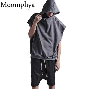 Moomphya 2017 New Men solid color sleeveless Hoodies half zip design hooded Hoodies Sweatshirts men