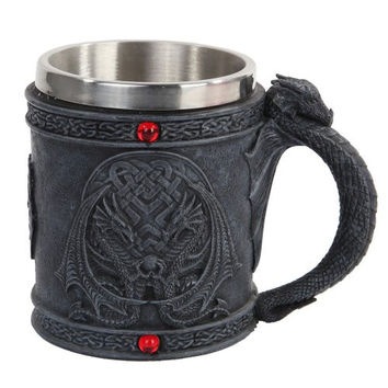 Celtic Dual Winged Dragon Mug Chalice Resin Body Stainless Steel Faux Stone