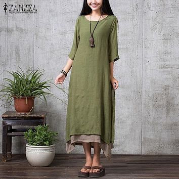 ZANZEA 2016 New Boho Style Summer Women Vintage Loose Long Maxi Dress Solid 3/4 Sleeve Dresses Femininas Vestidos Plus Size