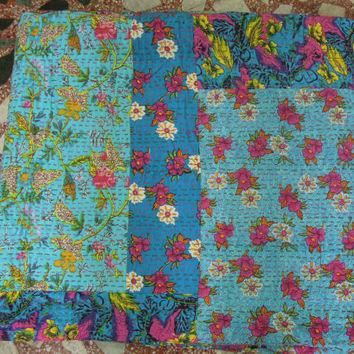 Kantha Patchwork Quilt Bedspread Blanket made with Cotton Sarees - Ethically Handmade in India