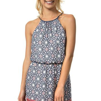 Teeze Me | Sleeveless Halter Top Chain Strap Printed Dress | Blue/Red
