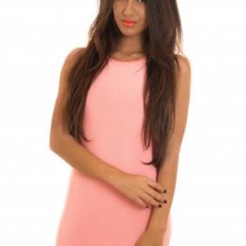 Pink Sleeveless Bodycon Dress with Open Tie Draped Back