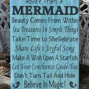 Advice From A Mermaid Sign Original Copyright Wood Sign PAINTED