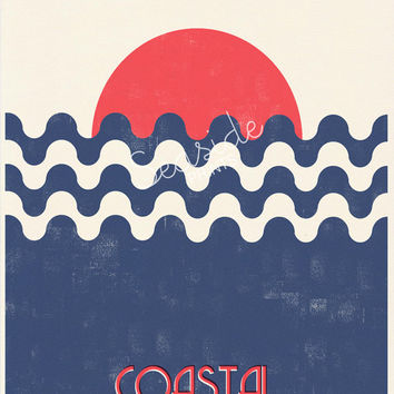Vintage style poster -Coastal Life is Better - Abstract Sunset Print 2 -Sea life original collage